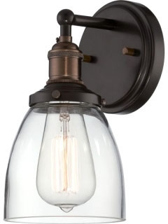 sat 60-5514 SAT 1-LT SCONCE W/ CLEAR GLASS VINTAGE LAMP INCLUDED