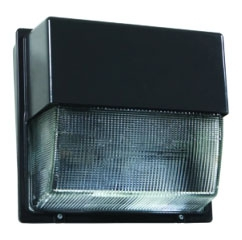 lit TWH-LED-20C-1000-50K-T3M- 120-PE-DDBXD LIT LED WALLPACK 5000K 120V W/ PHOTOEYE BRONZE