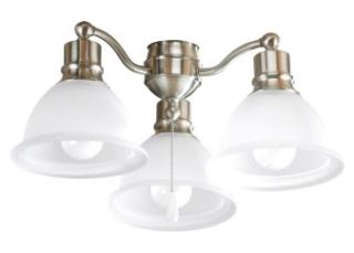 prg P2623-09WB PRG Madison Three-LED Lamp Ceiling Fan Light Kit Nickel