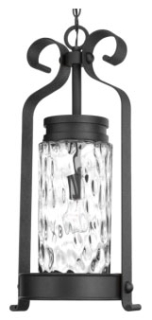 prg P550027-031 PRG 1-100W MED HANGING LANTERN CLEAR WATER GLASS WROUGHT IRON