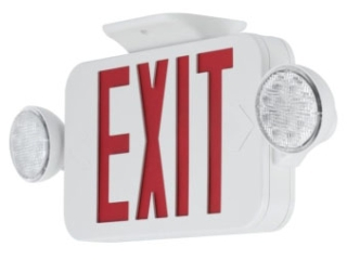 prg PECUE-UR-30 PRG LED COMBO EXIT/EMERGENCY RED White