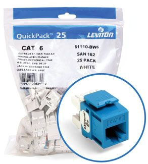Leviton Cat6 Jack Blue Bulk 25 Pack