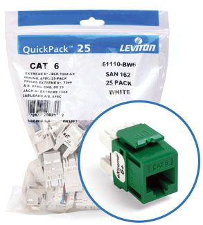 Leviton Cat6 Green Jack 25 Pack