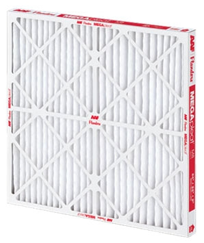 "16"" x 36"" x 1"" Fiber Media Pleated Air Filter - MEGApleat, Beverage Board Frame, MERV 8"