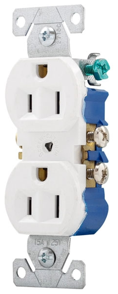 White Duplex 15Amp Receptacle (pk10)