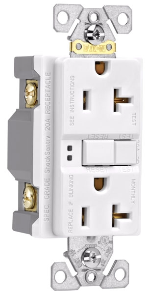 White Self-Test GFCI Receptacle