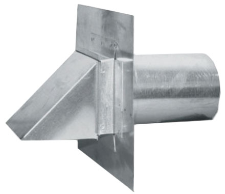 """6"""" Sheet Metal Dryer Vent - with Stucco Stop and Damper"""