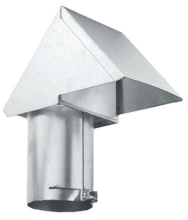 "4"" Vertical Rooftop Sheet Metal Dryer Vent - with Damper"