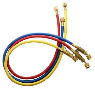 "1/4"" Yellow/Blue/Red High Pressure Charging Hose - KOBRA, 60"" L"