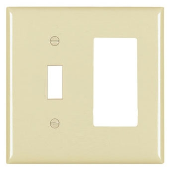 (P&S) TP126I IVORY TRADEMASTER PLATE 2GANG 1TOGGLE 1DECORATOR