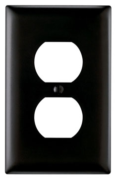 TP8-BK BLACK NYLON 1 GANG DUPLEX WALL PLATE
