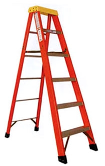 6' Fiberglass Step Ladder - 300 Lb, Type IA, Red and Yellow