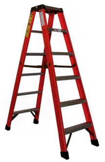 6' Fiberglass Step Ladder - 300 Lb, Type IA, Red and Black