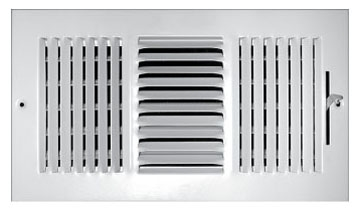 "8"" x 6"" Steel 3-Way Register - White Powder Coated, Multi-Shutter Damper, Sidewall/Ceiling, Stamped Face"