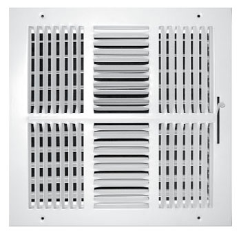 "12"" x 12"" Steel 4-Way Register - White Powder Coated, Multi-Shutter Damper, Sidewall/Ceiling, Stamped Face"