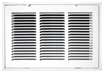"""20"""" x 20"""" x 1.75"""" White Powder Coated Steel Return Air Filter Grille - 1/2"""" Fin Spacing"""