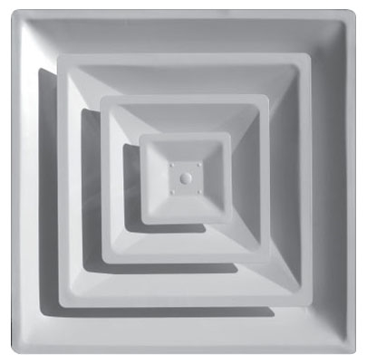 "23-3/4"" x 4-3/4"" x 23-3/4"" Steel 4-Way Duct Diffuser - White Powder Coated, 3-Cone Design, 8"" Neck"
