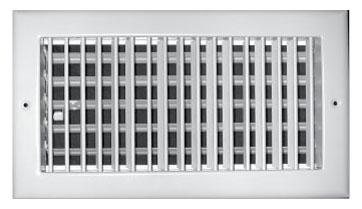 "12"" x 6"" x 2.25"" Steel Single Register - White Powder Coated, Multi-Shutter Damper, Sidewall/Ceiling, Vertical Blade"
