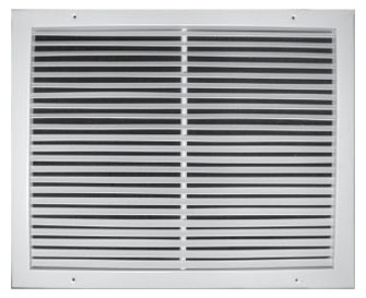 "24"" x 6"" x 13/16"" White Powder Coated Steel Return Air Grille - 3/4"" Fin Spacing"