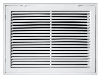 "20"" x 25"" x 1-7/8"" White Powder Coated Steel Return Air Filter Grille - 3/4"" Fin Spacing"