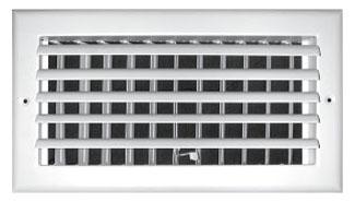 "10"" x 10"" Steel 1-Way Register - White Powder Coated, Sidewall/Ceiling, Adjustable Curved Blade"