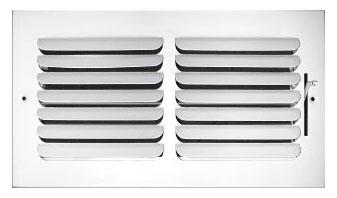 "12"" x 12"" x 1.75"" Steel 1-Way Register - White Powder Coated, Multi-Shutter Damper, Sidewall/Ceiling, Stamped Curved Blade"