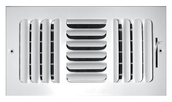 "10"" x 10"" x 1.75"" Steel 3-Way Register - White Powder Coated, Multi-Shutter Damper, Sidewall/Ceiling, Stamped Curved Blade"