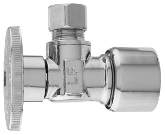 "5/8"" x 3/8"", Quick Joint x Compression, Lead-Free, Brass, 1/4 Turn, Angle Ball Valve"