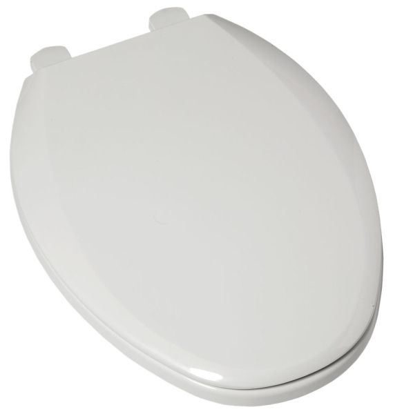 White, Solid Plastic, Closed Front, Elongated, Toilet Seat