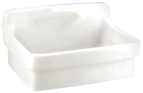 "30"" x 22"", 8"" Rough-In, White, Vitreous China, Wall Mount, 1-Hole, Single Center, Single Bowl, High SplashBack, Work Sink"