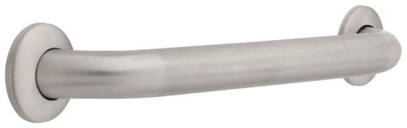 "1-1/2"" x 18"" x 3"", Peened Stainless Steel, Concealed Flange Mount, Round, Grab Bar"
