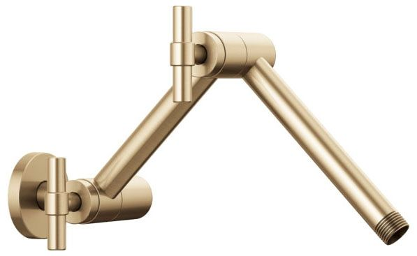 """1/2""""-14 TPI MPT, 16"""" L, Luxe Gold, Solid Brass, Joined, Adjustable, Angled, Shower Arm with Flange"""