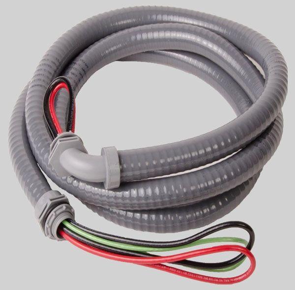 "3/4"" x 8', 8 AWG THHN Wire, Non-Metallic, Straight, 90D, Liquid Tight, Flexible Conduit Whip"