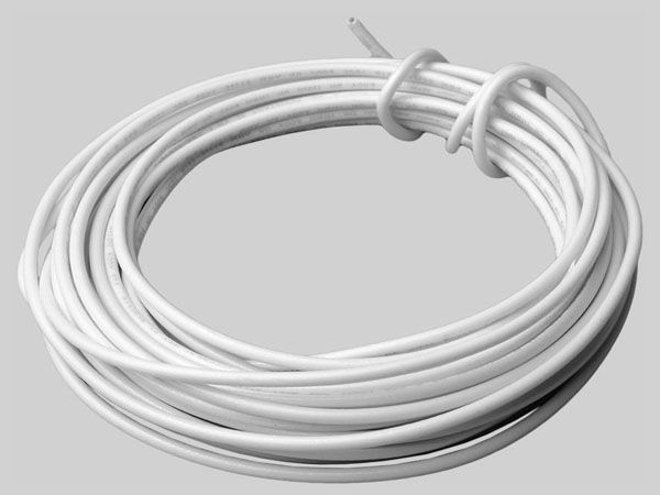 10', 600 V, 10 AWG, 19 Strands, White, Copper, THHN, Electrical Wire