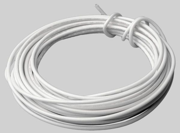 15', 600 V, 12 AWG, 19 Strands, White, Copper, THHN, Electrical Wire