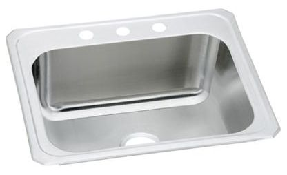 """25"""" x 22"""" x 10-1/4"""", 20 Gauge, Brushed Satin, Stainless Steel, Drop-In Mount, 2-Hole, 8"""" Center, Single Bowl, Laundry Sink"""