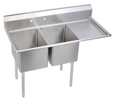 "76.5"" x 29.8"" x 43.8"", 18 Gauge, Stainless Steel, Floor Mount, 2-Hole, 8"" Center, Double Bowl, Splash Back, Right Drainboard, Food Service Sink"