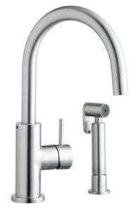 """11-5/8"""" x 9-3/8"""" x 8"""", 1.5 GPM, Lead-Free, Satin Stainless Steel, Gooseneck Spout, Brass, Wrist Blade, 2-Handle, Concealed Deck Mount, Kitchen Faucet"""