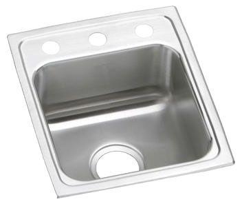 "15"" x 17-1/2"" x 6-1/2"", 18 Gauge, Lustrous Satin, Stainless Steel, Drop-In Mount, 2-Hole, 4"" Center, Single Bowl, Kitchen Sink"
