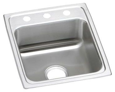 "17"" x 20"" x 6-1/2"", 18 Gauge, Lustrous Satin, Stainless Steel, Drop-In Mount, 1-Hole, Single Center, Single Bowl, Kitchen Sink"