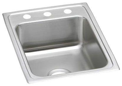 "17"" x 22"" x 6-1/2"", 18 Gauge, Lustrous Satin, Stainless Steel, Drop-In Mount, 2-Hole, 4"" Center, Single Bowl, Kitchen Sink"