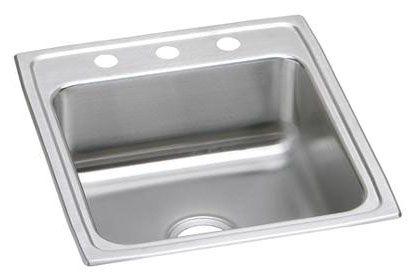 "19-1/2"" x 22"" x 6-1/2"", 18 Gauge, Lustrous Satin, Stainless Steel, Drop-In Mount, 2-Hole, 4"" Center, Single Bowl, Kitchen Sink"