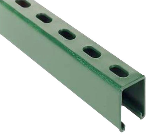 "1-5/8"" x 1-5/8"" x 10', 14 Gauge Thk, Green, Steel, Elongated Hole, 1-Channel, Channel"