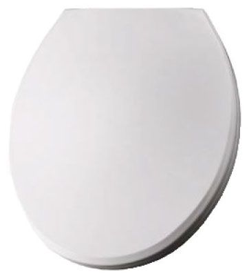 """13-3/16"""" x 16-1/2"""", White, Heavy Weight Plastic, Closed Front, Round, Toilet Seat"""