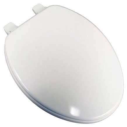 "14"" x 19"", White, Molded Wood, Closed Front, Elongated, Residential, Adjustable, Toilet Seat"