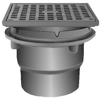"3"", No Hub, 8"" Square Top, 19 Sq Inch Free Area, Duco Cast Iron, Bottom Outlet, Small, Promenade Deck, Roof Drain"