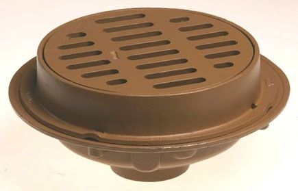 """4"""", Speedi Set, 12"""" Round Top, Duco Cast Iron, Heavy Duty, Side Outlet, Floor Drain with Trap Primer Connector"""