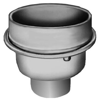 """3"""", No Hub, 7-1/4"""" Round Top, Duco Cast Iron, Bottom Outlet, Indirect Waste Drain"""