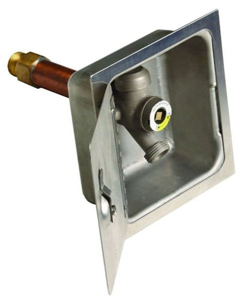 Stainless Steel, Valve Box with Hinged Locking Cover for Wall Hydrant