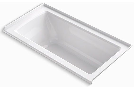 "60"" x 30"" x 19"", White, Acrylic, Right Drain, Rectangle in Rectangle, Alcove, Bathtub"